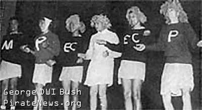Transvestite George Bush Jr romps nekked at Bohemian Grove